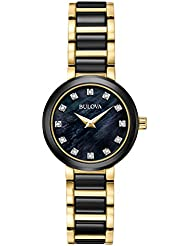Bulova Womens Quartz Stainless Steel Dress Watch, Color:Two Tone (Model: 98P159)
