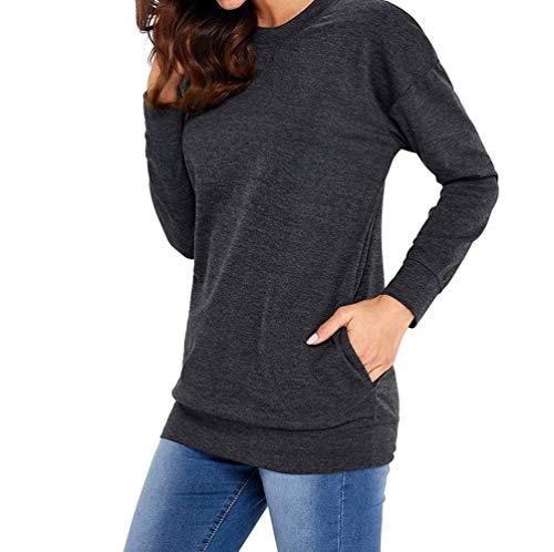 Sólido Blusas De Schwarz Mujeres Pulli Camisetas Sudadera Vintage Otoño Las Larga Jumpers Ocio Color Y Tops Manga Moda Camisas Cuello Redondo PxBqZw4E