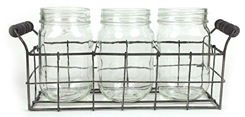 Set of 3 Clear Glass Mason Jars in Wire Tray with Wooden Handles, Flatware Caddy Organizer Set for Home & Parties