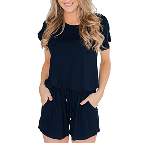 Price comparison product image TOTOD Short Rompers Specials - 2019 New Women's Summer Short Sleeve Jumpsuit with Pockets Blue