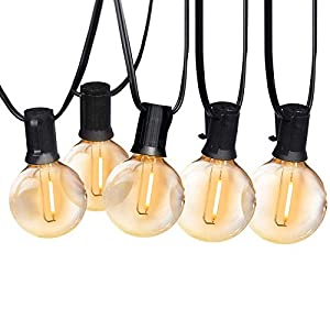 25FT LED Outdoor String Lights Commercial Grade Waterproof Edison Bulbs Plastic Bulb Patio Light for Porch Backyard…