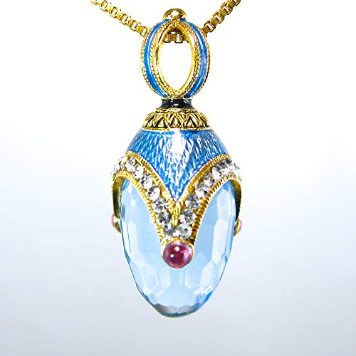 BLUE TOPAZ NECKLACE Guilloché Enamel Russian Faberge Style Egg Pendant, 925 Sterling Silver, Swarovski Crystals, 24k Gold Vermeil, Genuine Garnets, Gift for Her Jewelry for Woman Girls