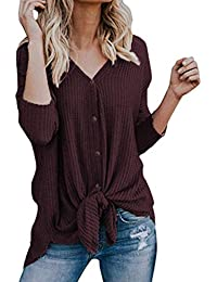 Womens Waffle Knit Tunic Blouse Long Sleeve Button Down Henley Shirts Loose Tie Front Tops