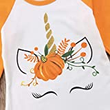 Toddler Kids Baby Girl Unicorn Pumpkin Ruffles Long Sleeve T-Shirt Tops Outfits (2T) Orange