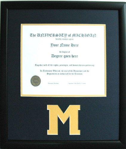 Universidad de Michigan Wolverines Negro Diploma Marco de madera ...