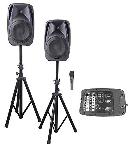 Qfx SM211 Dj Bluetooth Mixer Speakers Bundle