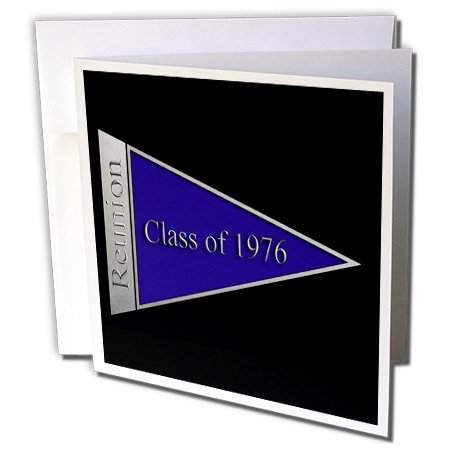 3dRose Beverly Turner Class Reunion Design - Class Reunion Design 1976 Blue - 6 Greeting Cards with envelopes (gc_18819_1)