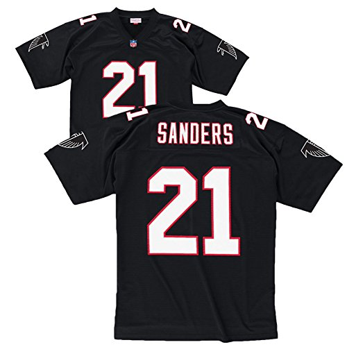 NFL Mitchell & Ness Deion Sanders Atlanta Falcons Replica Retired Player Jersey - Black (Large)
