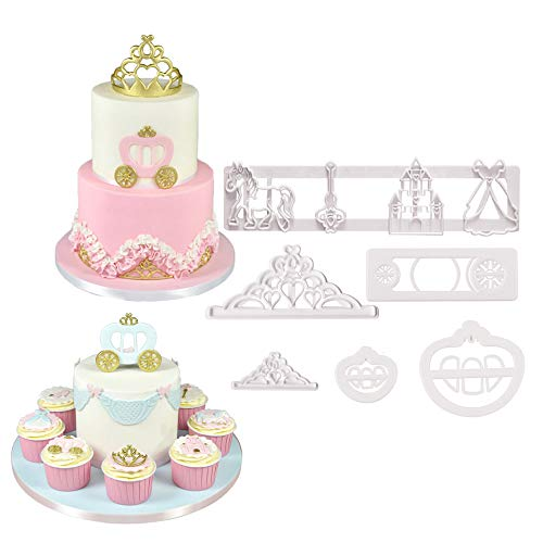 Crown Carriage - Set of 6 Fairy Tale Pumpkin Carriage Crown Castle Cookie Cutters Cakecup Decoration Fondant Molds Tools for Baby Shower Party Supplies