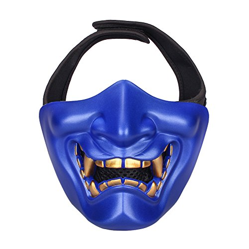Outry Half Face Mask - Lower Face Protective Tactical Mask for Airsoft/Paintball/BB Gun/CS Game/Hunting/Shooting, Ideal Mask for Halloween, Cosplay, Costume Party and Movie Prop (Blue)]()