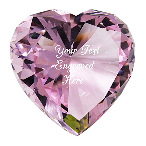 Personalized Custom Laser Engraved Crystal Diamond Keepsake Heart Shaped for Birthday/Valentine's Day/Mother's Day/Anniversary. (Pink)