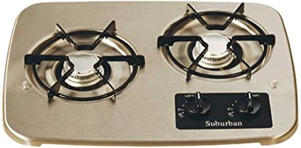 Rv Propane Stove >> Amazon Com Suburban 2937ast 2 Burner Stainless Cooktop Automotive