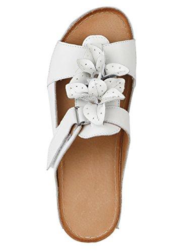 KLiNGEL Damen Pantolette mit schöner Blüttenapplikation Weiß
