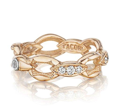 Tacori SR184P Ivy Lane 18K Rose Gold Diamond Pave Link Ring, (0.33 cttw, H-I Color, I2-I3 Clarity) ()