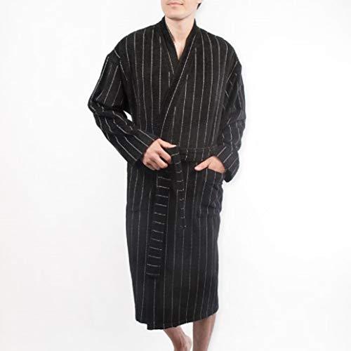 Majestic International Terry Velour Stripe Kimono Robe in Black ()