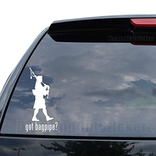 GOT Bagpipe Scottish Piper Decal Sticker Car Truck Motorcycle Window Ipad Laptop Wall Decor - Size (05 inch / 13 cm Tall) - Color (Gloss White)