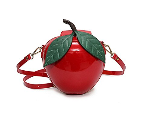 Red Apple Purse - Dream-Store Fruit Apple Pineapple Strawberry Watermelon Shape Women PU Leather Clutch Purse Cross Body Bag (One Size, Red Apple)