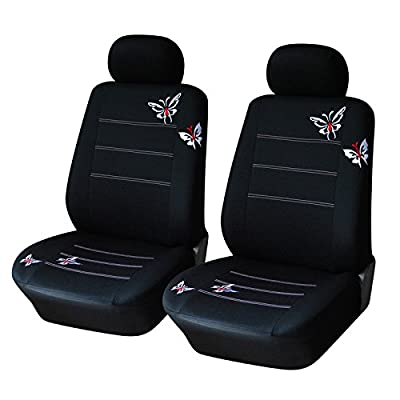 AUTOYOUTH Polyester Fabric Front Seat Covers (2 Pieces) Universal Fit For Car Butterfly Embroidered Fabric Colour Black