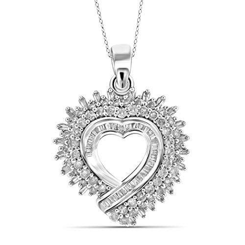JewelExcess 1 Carat T.W. White Diamond Sterling Silver Spikey Heart Pendant