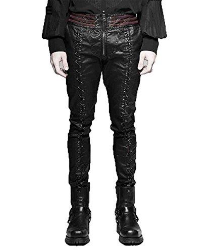 Punk Rave Gothic Vampire Piaget Bloody Pants for Men Zip up Steampunk Hooks Motorcycle Fashion Long Trouers Black 2XL