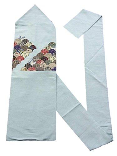 トレイル明らかにマットレスリサイクル 名古屋帯 紬 アップリケ刺繍 青海波文 正絹