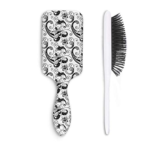 - Black and White Flowers Paisley Hair Combs Massage Paddle Anti Static Designed for Women& Men,for Wet, Dry, Thick, Thin, Curly Hair