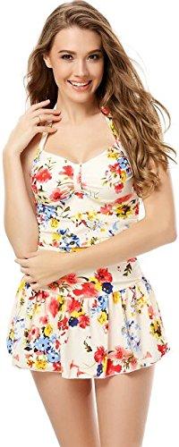 Angela Dan(TM) Women's One Piece Floral Ruched Halter Push Up Slim Tummy Control Tankini Swim Dress Size XXL