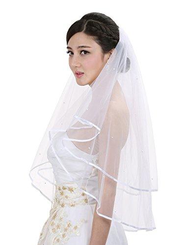 (2T 2 Tier Ribbon Edge Circular Crystal Veil (Elbow Length 30