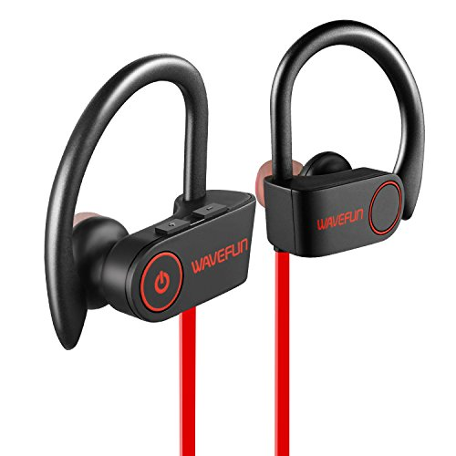 Wavefun X-Buds Bluetooth Headphones,Best Wireless Sports Earphones with Mic,IPX7 Waterproof HD Stereo Sweatproof Earbuds, Noise Cancelling Headset for Running Workout Gym - Red
