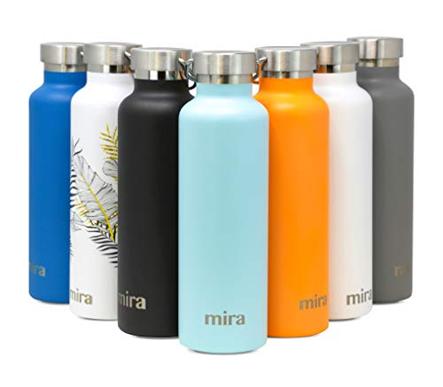 MIRA Alpine Stainless Steel Vacuum Insulated Water Bottle with 2 Lids, Durable Powder Coated Thermos | 34 oz (1000 ml) | Matte Pearl Blue