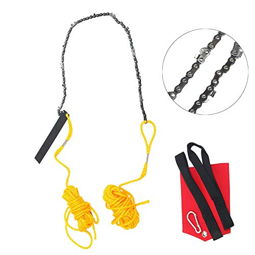 """Hand Chain Saw for High Limb Tree Branch,Pocket Chainsaw,Best Compact Folding Hand Saw Tool for Survival Gear, Camping, Hunting, Tree Cutting or Emergency Kit (Yellow-24""""-High Limb)"""