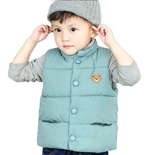 (LANBAOSI Baby Girls&Boys Winter Cute High Neck Vest Lightweight Puffer Sleeveless Jacket Blue)