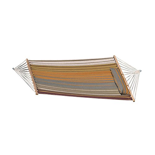 Sunnydaze Hammock Quilted Fabric w Spreader Bar and Detachable Pillow, 300 Pound Capacity, Sunset Beach