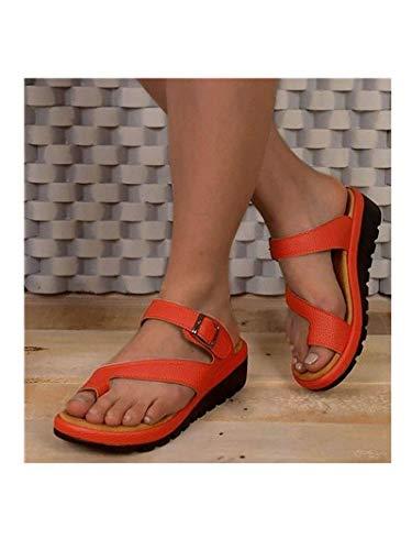 Women Comfy Platform Sandal Shoes,Ladies Shoes Fashion crossover strap Slippers, Peep Toe Sandals,Retro platform toe slippers,Summer Beach Travel Shoes,Outdoor non-slip Sandals (10.5, Orange)