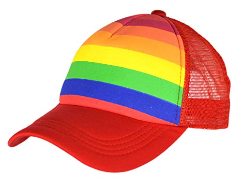 (Rainbow Stripes Snapback Hat, LGBT Pride Bright Mesh Trucker Baseball Cap (Red))