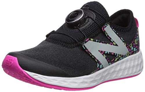 New Balance Girls' N Speed V1 Running Shoe, Black/Peony, 1.5 M US Little Kid