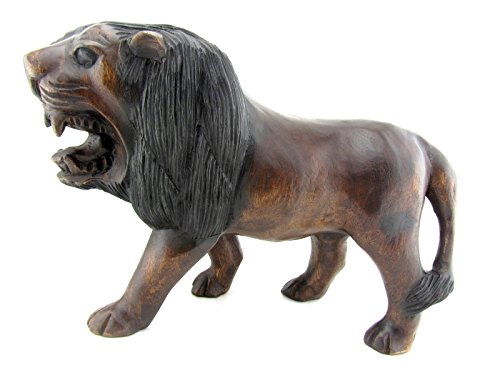 (Blue Orchid Lion Wood Carvings Indoor Statue Hand Carved Wooden Decorations)