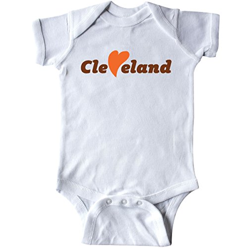 inktastic - Cleveland Heart Solid Orange Infant Creeper Newborn White 26e87