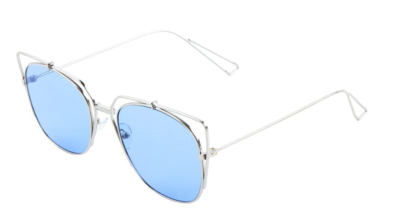 Metal Color Lens Fashion Cat Eye Sunglasses. (BLUE LENS)