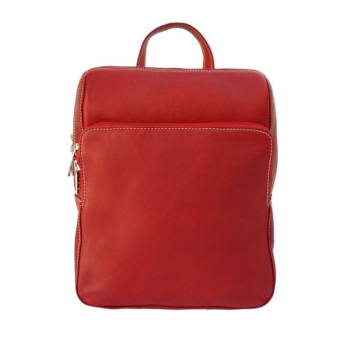 Piel Leather Slim Front Pocket Backpack, Red, One Size