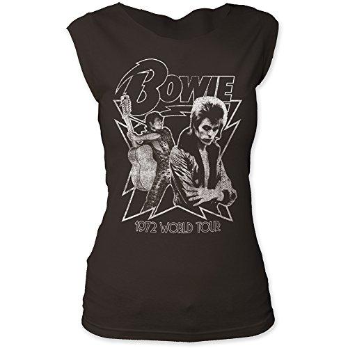 David Bowie 1972 World Tour Print Junior's Fitted Cut Tee Shirt Medium Black
