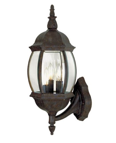 Savoy House 5-1651-72 Exterior Collections 3-Light Wall Mount Lantern, Rustic Bronze Finish with Clear Beveled Glass