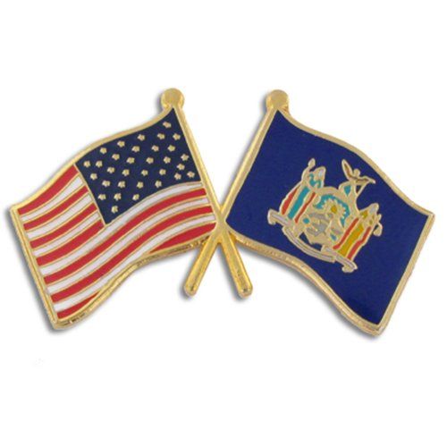 Best Friend Usa Flag (PinMart's New York and USA Crossed Friendship Flag Enamel Lapel Pin)