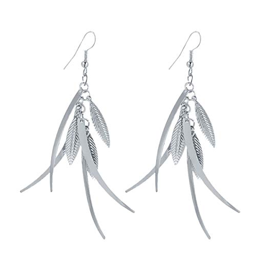 (IDB Delicate Filigree Dangle Triple Feather Drop Hook Earrings - Available in Silver and Gold Tones (Silver Tone))