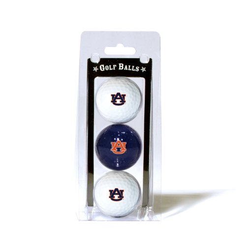 Team Golf NCAA Auburn University Tigers Regulation Size Golf Balls, 3 Pack, Full Color Durable Team Imprint