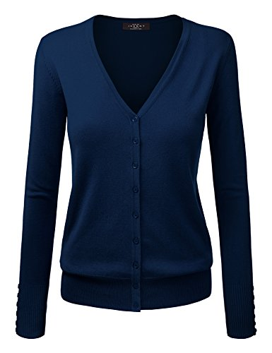 Button Front Navy Silk (WSK780 Womens Keep It Classic V Neck Cardigan XXL NAVY)