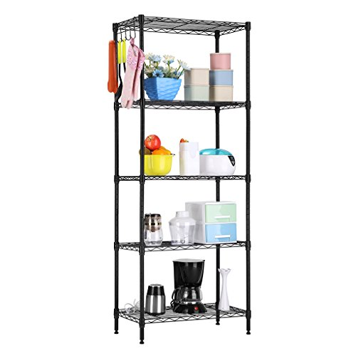LANGRIA 5 Tier Shelving Units Storage Rack Supreme Wire Shelving Organization, (Black Wire Rack)