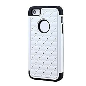 Sannysis(TM) 1PC Best Chrome Bling Rhombus Grid Hard Case Cover For iPhone 5 5S (White)