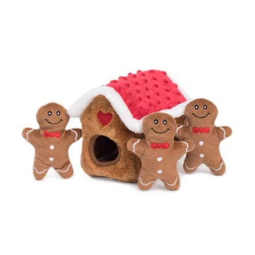 Burrow, Interactive Squeaky Hide and Seek Plush Dog Toy - Gingerbread House ()