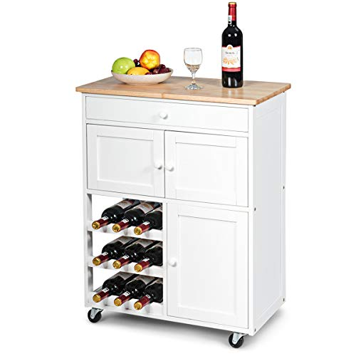 Giantex Modern Rolling Kitchen Trolley Cart w/Drawer & Wine Rack Storage Cabinet Home Restaurant Island Serving Cart w/Wheels (White)